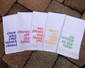 Manner Napkins, Embroidered, All Cotton, White Napkins