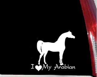 I Love My Arabian-Horse Vinyl Vehicle or Trailer Decal - Indoor/Outdoor Sticker