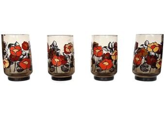 Retro Poppy Juice Glasses, Smokey, Orange, Yellow, Set of Four