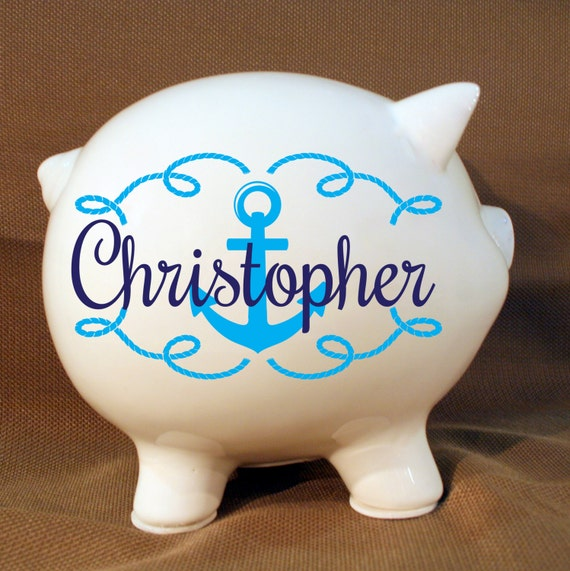 8 personalized piggy bank nautical design with vinyl - Nautical piggy banks ...