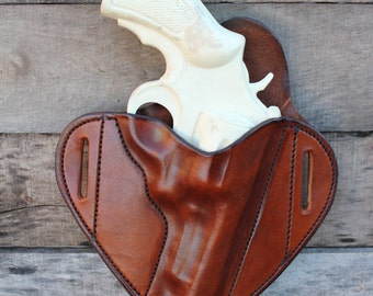 TIN BADGE LEATHER-Custom Holster for 4 Inch Magnum Revolvers
