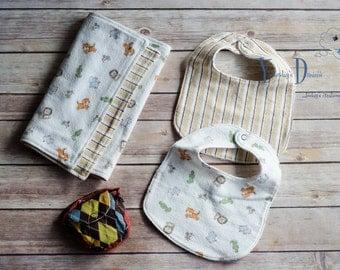 Baby Gift Set Bundle- 2 Burp Cloths, 2 bibs, & pacifier pouch