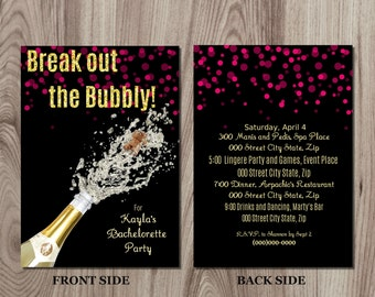 Bubbly Champagne Bachelorette Party Invitation DIY Printable