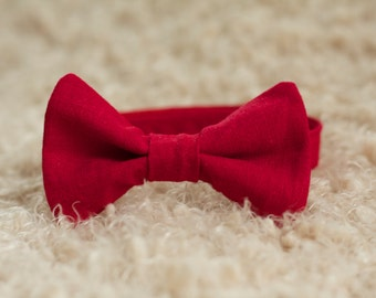Red Linen Bow Tie, Christmas Bow Tie, Red Bow Tie, Boys Bow Tie, Newborn Bow Tie, Adult Bow Tie, Christmas Wedding Bow Tie, Linen Bow Tie