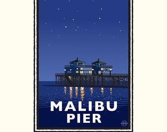 "Landmark Series   CA ""Malibu Pier Night"" by Mark Herman"