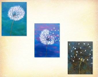 Abstract,Acrylic-Dandelions Nature-Set of 3-Acrylic on Canvas-Modern,Contemporary by ArtSheena Creates