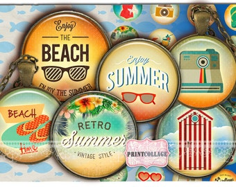 Summer chill images Digital Printable Sheet Cabochon images 1.5 inch  1 inch, 18,14 mm round images Printable images Instant download C187
