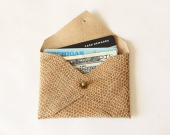 Repurposed Embossed Leather Card Holder Mini Wallet / Tan Snakeskin