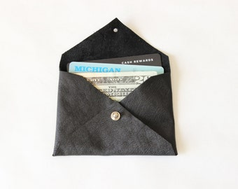 Repurposed Leather Card Holder Mini Wallet / Black