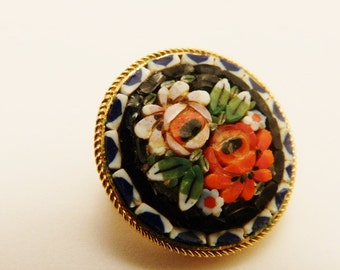 Black and Red Micro Mosaic Flower Brooch
