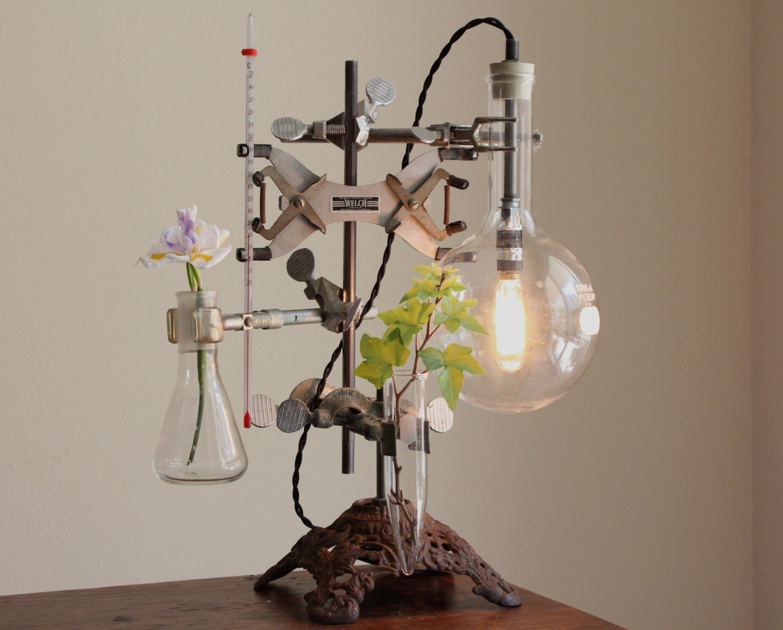 Industrial Desk Lamp Steampunk Flower Vase Lighting Antique