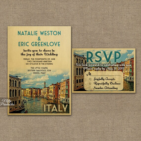 Italy Wedding Invitation - Printable Vintage Venice Italian Wedding Invites - Italia Retro Wedding Invitation Suite or Solo VTW
