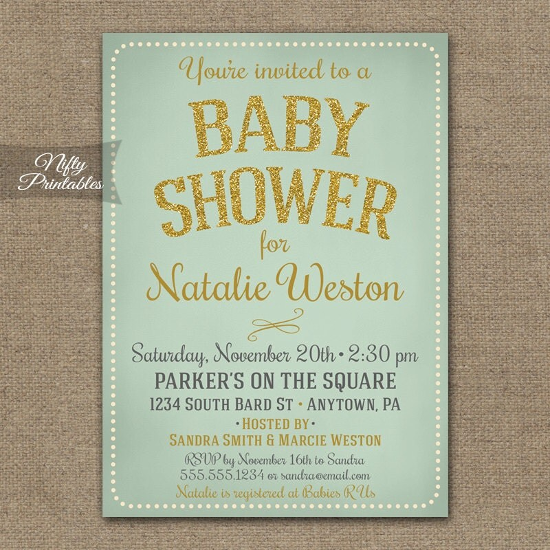 mint baby shower invitations mint gold gender by niftyprintables
