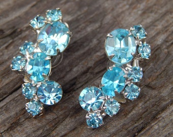 Antique 40's Sky Blue Crystal Earrings!