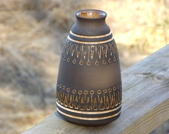 Swedish Pottery Vase By Ulla Winblad for Alingsås Keramik, Handmade, Brown with Glazed Inlays, Scandinavian Art Pottery, Sweden