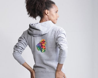 Women's Superstar Pull Over Hoodie with 'Rainbow Skull Trio' Embroidery on the back