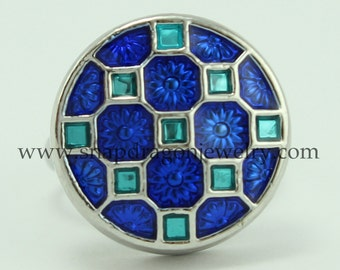 Blue Checkerboard Pattern SNAP Jewelry - Snapdragon Jewelry, Noosa Chunk, Popper, Button, Charm