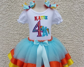 My Little Pony Rainbow Dash  Birthday Satin Ribbon Tutu-Personalized Birthday Tutu,Sizes 6m - 14/16