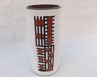 Vintage mid-century West-Germany white ceramic vase with brown and orange decoration 16 cm
