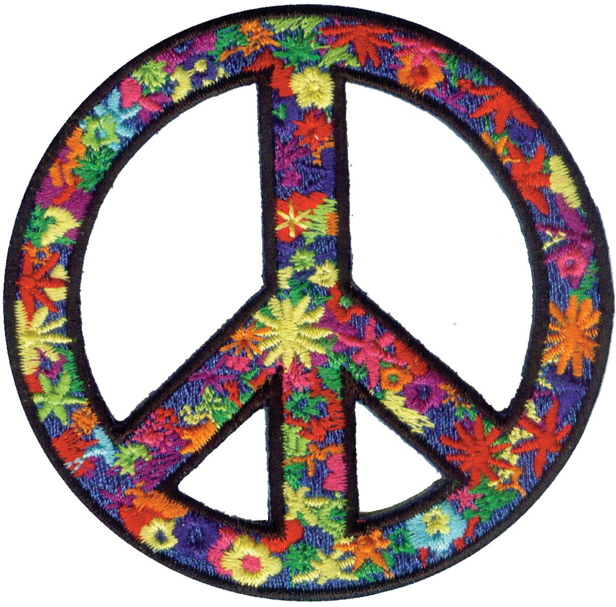 iron on appliques flower peace sign by designeralleyfabrics. Black Bedroom Furniture Sets. Home Design Ideas