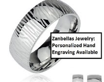Mens or Womens white camouflage steel ring. Personalized Hand Engraving available. Sizes 5,6,7,8,9,10,11,12,13