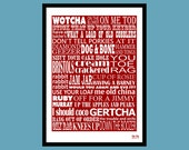 Cockney Slang Typographic Wall Art Print - Instant PDF Download