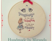 Alice in Wonderland printed decorative hanging hoop with imagination Cheshire cat  quote