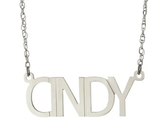 Oxidized 925 Sterling Silver Personalized Any Name Plate Pendant Necklace - Nameplate Necklace