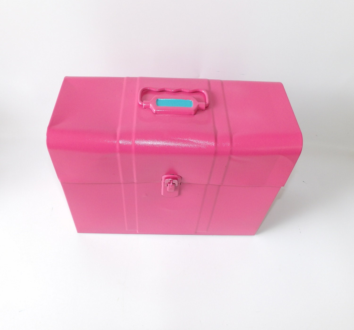 Pink Metal Tool Box Makeup Case Storage Box With Lid Aqua