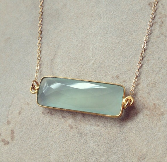 blue chalcedony horizontal bar necklace by. Black Bedroom Furniture Sets. Home Design Ideas