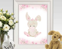 Bunny print Pink floral bunny Nursery wall art Girls bedroom decor Pink green Nursery bunny Rabbit floral texture 5x7, 8x10, 11x14 DOWNLOAD