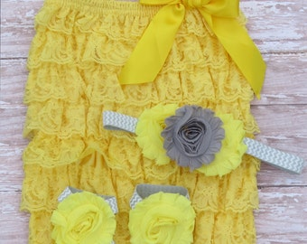 Grey and Yellow Romper Set-Baby lace romper-romper sets-lace romper-baby rompers-Shabby chic headband-barefoot sandals-baby sandals-baby set