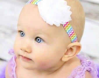 Rainbow Chevron Headband-rainbow headband-infant headbands-baby girl headbands-baby girl bows-toddler headbands-newborn headbands-baby bows