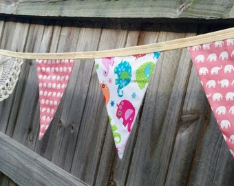 Vintage inspired Doily and Elephant fully lined flag bunting/ banner/pennant