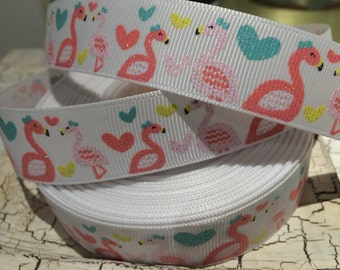 "7/8"" Glitter FLAMINGO Nautical Love Heart Grosgrain Ribbon sold by the yard"