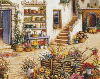 Courtyard Flower Shoppe - Counted cross stitch pattern in PDF format