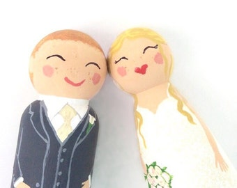Wedding Cake Topper, Personalized Topper, Wooden Cake Topper, Bride and Groom, Wedding Cake Decor, Peg People- pet or children optional!