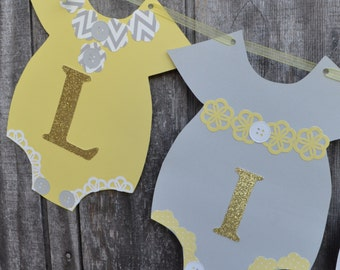 Gold Baby Shower Banner, Yellow and Gray Baby Shower Banner, Baby Shower Banner, Gender reveal banner