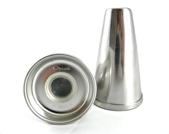 Mid-century Oneida Stainless Steel Salt and Pepper Shakers