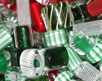 1 oz Mixed Christmas ~ Furnace Art Glass Beads