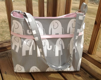 SALE! Diaper bag in grey elephant and soft pink l. medium/large, deluxe bag with o rings for stroller