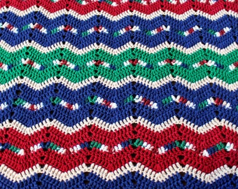 "Vintage Crochet Knit Afghan, Lap Blanket or Throw in Navy, Green, Maroon, Cream * 84"" x  45"""