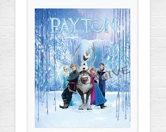 Personalised Frozen Art Print - Frozen Name Art - Frozen Nursery Decor - Frozen Bedroom Art - Frozen Bedroom Decor