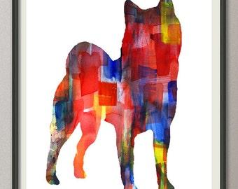 shiba inu art print watercolor print  silhouette painting print poster wall art decor drawing, dog wall art poster watercolor