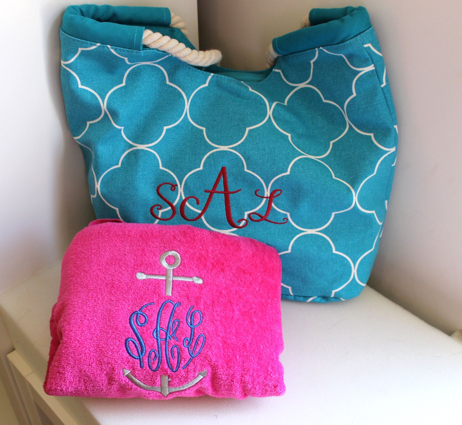 Personalized Towels: Personalized Tote And Towel Set/ Beach Bag & Beach Towel/