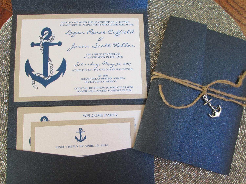 Nautical Wedding Invitation Wording: Nautical Theme Destination Wedding Invitation Anchor Navy