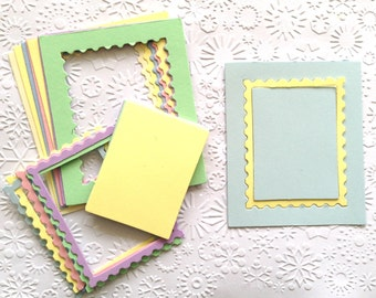 15 Pastel Stamp Frame Die Cuts with inserts for Card making Scrapbooking Paper craft project