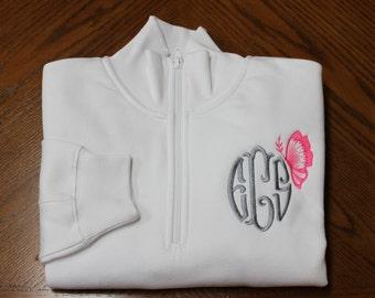 SALE - Monogrammed Quarter Zip Pullover - Monogram Sweatshirt - Butterfly