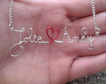 Double Valentine Wire Name Necklace Personalized Love Necklace Silver Wire Word Necklace Jewelry Wire Wrapped Great Birthday Gifts Under 20