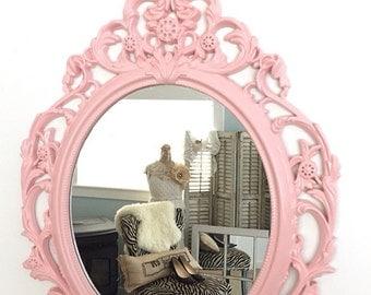 Nursery Mirror Shabby Chic Baroque Pink Wall Hanging Mirror Ornate Decorative Mirror